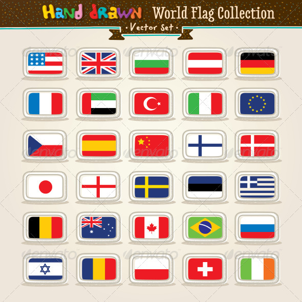 Download Vector Hand Draw World Flags Icon Set   AI EPS Vector