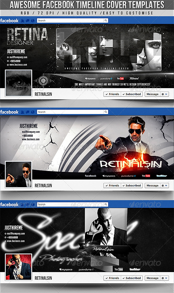 Facebook Timeline Covers - 3in1 - Social Media Web Elements