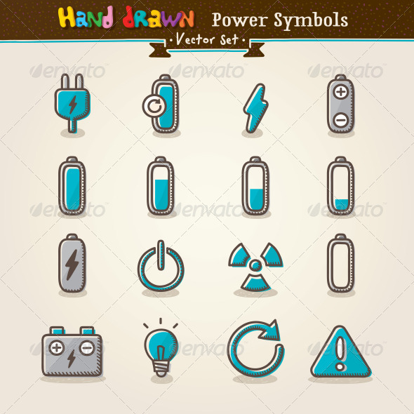 Vector Hand Draw Power Symbols Icon Set - Technology Conceptual