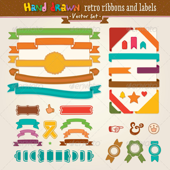 Vector Hand Draw Set Of Retro Ribbons And Labels - Decorative Vectors