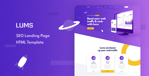 Lums - SEO Landing HTML Template by Layerdrops