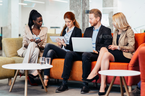 Business people conversation. Technology at hand - Stock Photo - Images