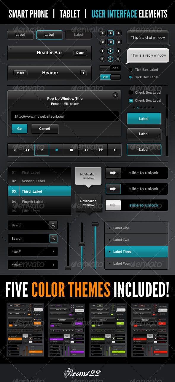 Smart Phone - Tablet - Web Interface Elements - User Interfaces Web Elements