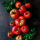 Top view of brandywine sort tomatoes with greens - PhotoDune Item for Sale
