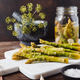 Pickled asparagus on a white marble tray - PhotoDune Item for Sale