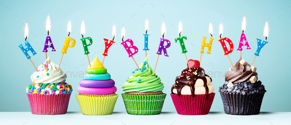 Colorful happy birthday cupcakes Stock Photo by RuthBlack | PhotoDune