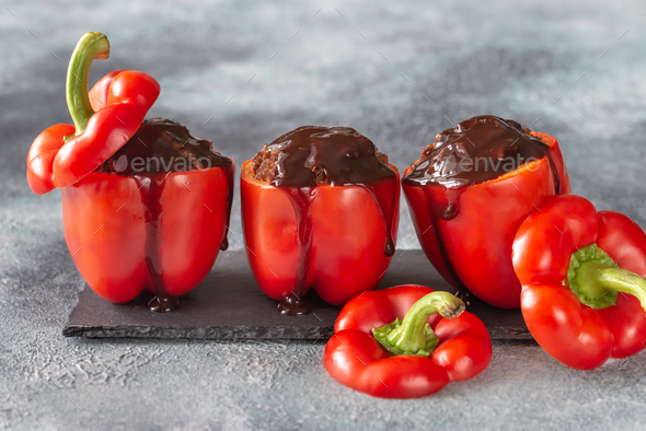 Stuffed red peppers - Stock Photo - Images