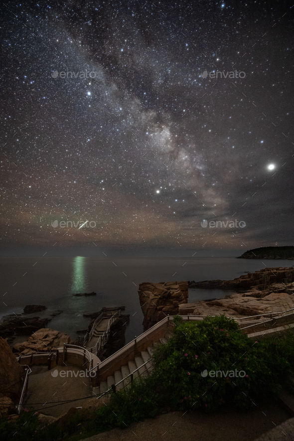 Meteor and Milky Way over Thunder Hole - Stock Photo - Images