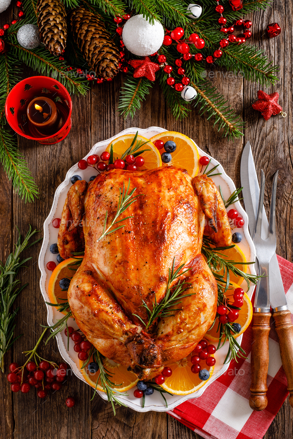 Christmas turkey. Traditional festive food for Christmas or Thanksgiving - Stock Photo - Images