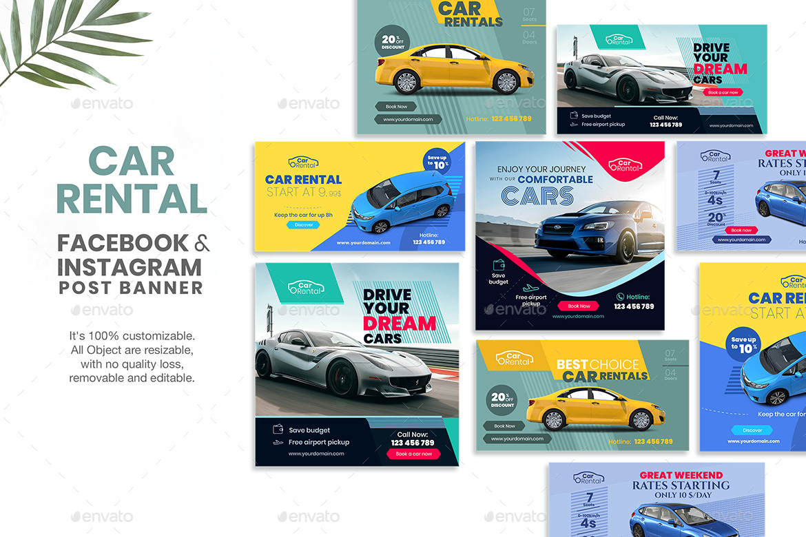Social Media Banners Car Rental By Wutip Graphicriver
