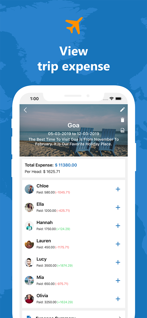Travel Expense Dairy - Android Native mobile app