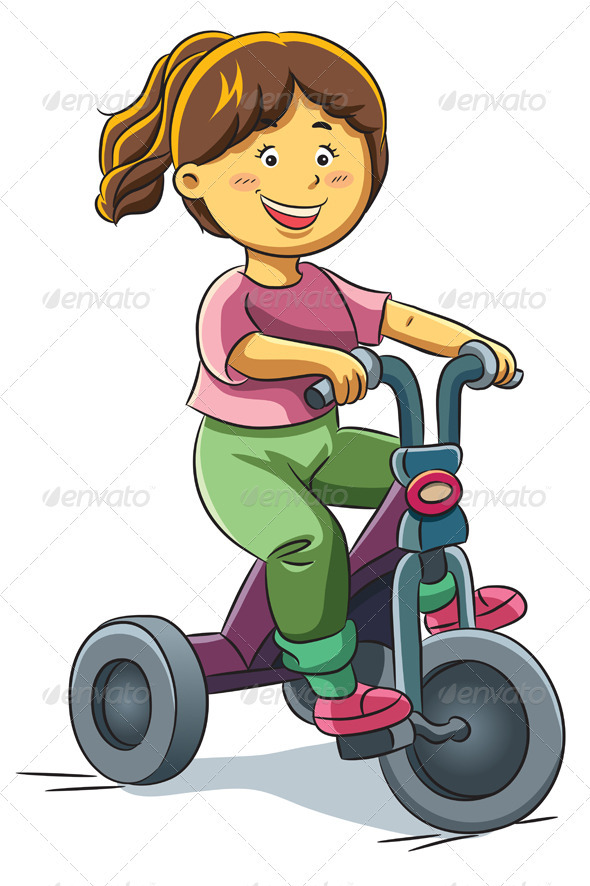 Girl Riding Tricyle - People Characters