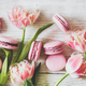 Pink macaron cookies and spring fresh tulip flowers, wide composition - PhotoDune Item for Sale