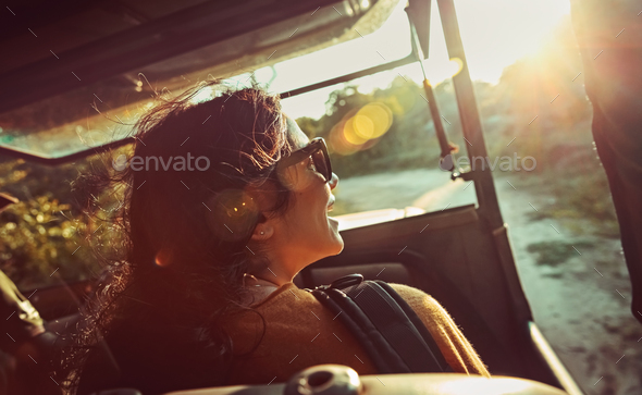 Happy woman on safari