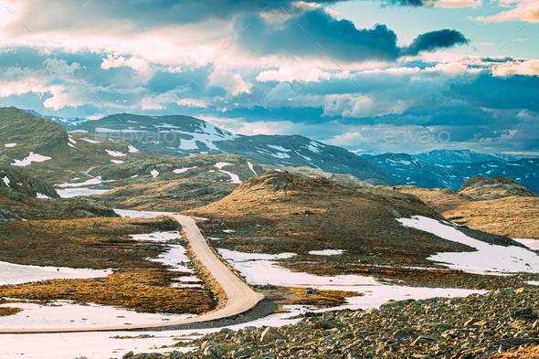 Aurlandsfjellet, Norway. Open Road Aurlandsfjellet. Scenic Route - Stock Photo - Images