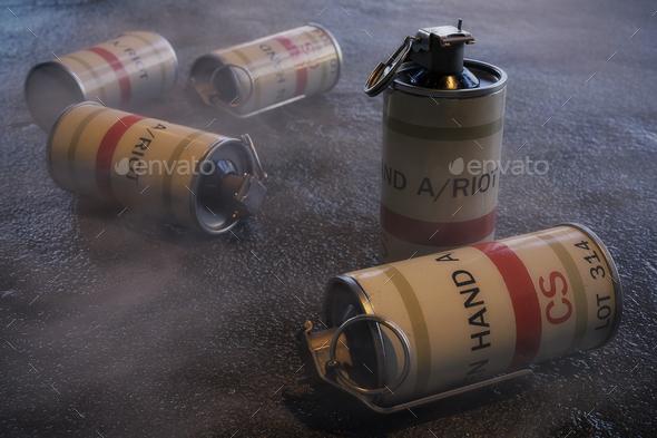 Tear Gas Grenades - 3D Illustration - Stock Photo - Images