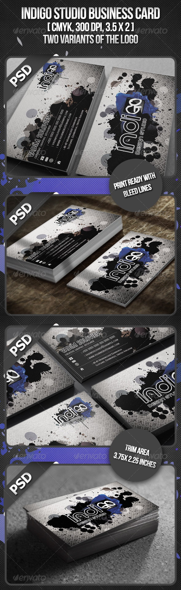 Indigo Studio Business card - Business Cards Print Templates