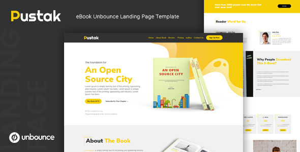 Pustak — eBook Unbounce Landing Page Template by thememor
