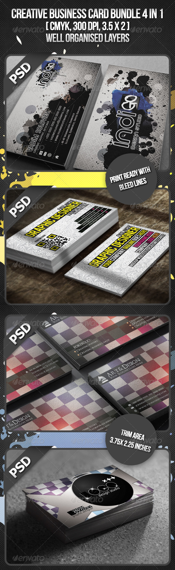 Creative Business Card Bundle 4 in 1 - Business Cards Print Templates