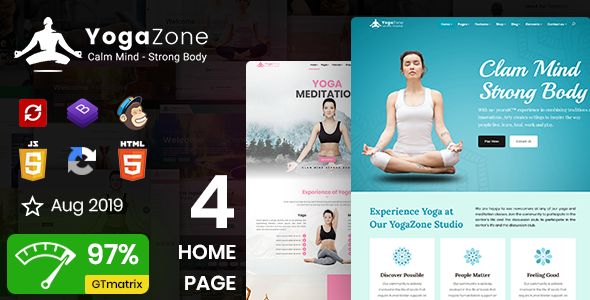 YogaZone: Yoga, Fitness & Meditation Mobile Responsive Bootstrap Html Template by DexignZone