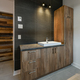 Modern bathroom with barn wood sink cabinets - PhotoDune Item for Sale