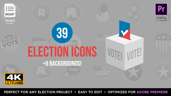 Flat USA Election Icons | MOGRT for Premiere Pro