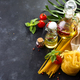Fresh homemade pasta ingredients on a stone table top view , copy space - PhotoDune Item for Sale