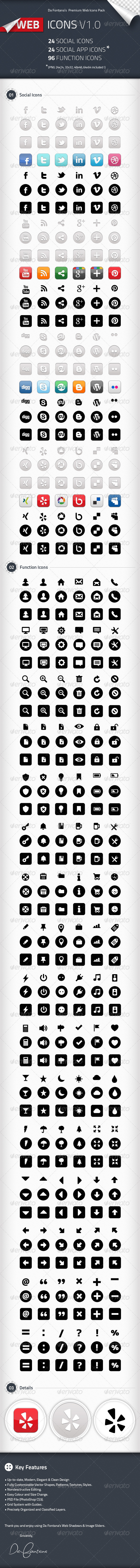 Social Icons, Social App Icons, Function Icons - Web Icons