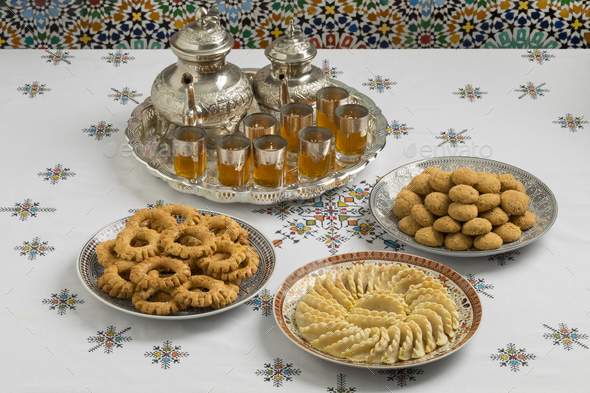 Traditional festive Moroccan cookies - Stock Photo - Images