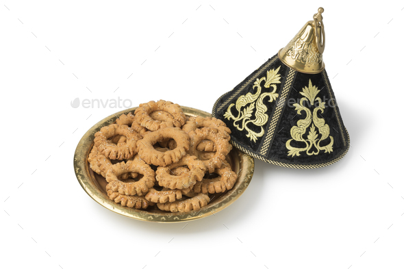 Traditional festive Moroccan tagine with Kaak cookies - Stock Photo - Images