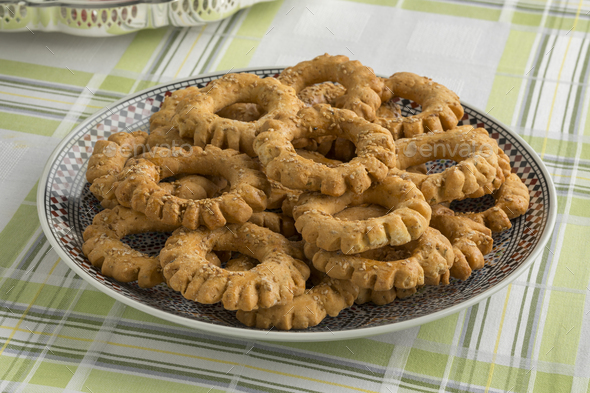 Traditional festive Moroccan Kaak cookies - Stock Photo - Images