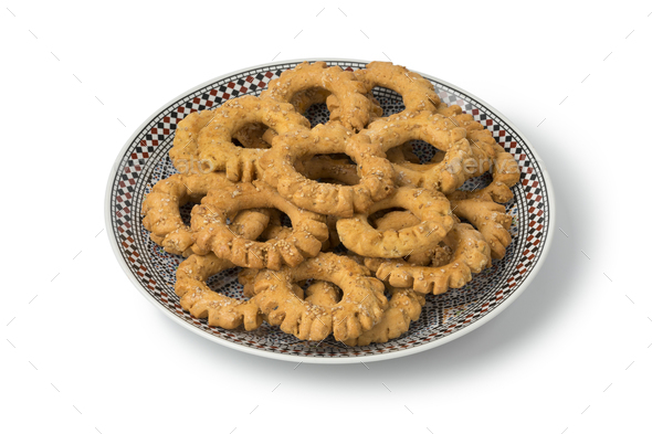 Dish with traditional festive Moroccan Kaak cookies - Stock Photo - Images