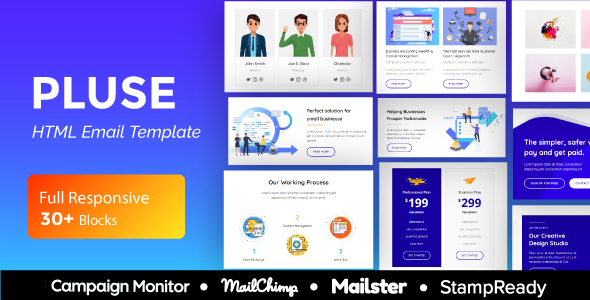 Pluse Agency - Multipurpose Responsive Email Template 30+ Modules - Mailster & Mailchimp