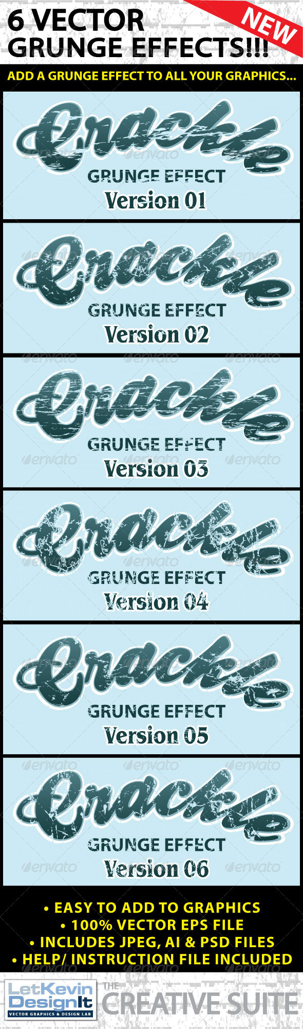 Vector Grunge Crackle Distressed Graphic Effect - Decorative Vectors
