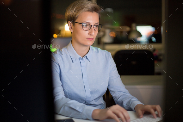 Pretty Manager Working on Computer - Stock Photo - Images