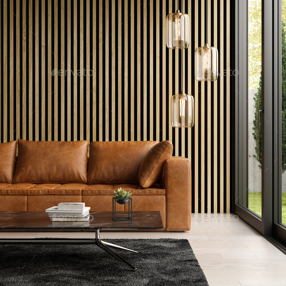 . Interior of modern living room with sofa 3 D rendering