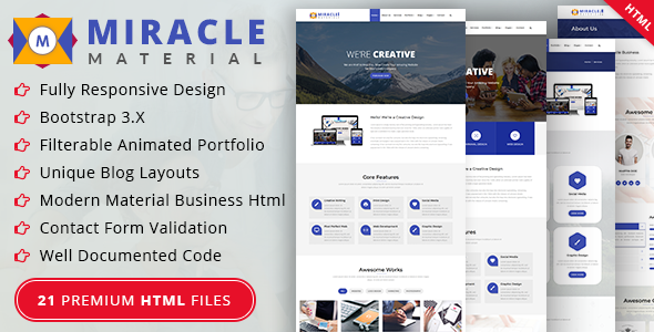 Miracle - Material HTML Template (Business, Creative, Agency, Corporate, Portfolio) by U-Touchdesign