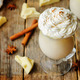 Hot white chocolate with whipped cream and cinnamon on a wood ba - PhotoDune Item for Sale
