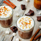 Dark hot chocolate with whipped cream and salted caramel sauce o - PhotoDune Item for Sale