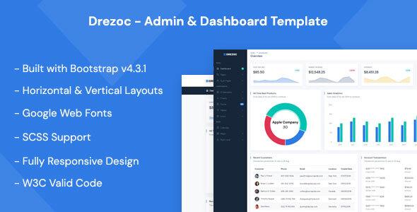 Drezoc - Admin & Dashboard Template by MyraStudio