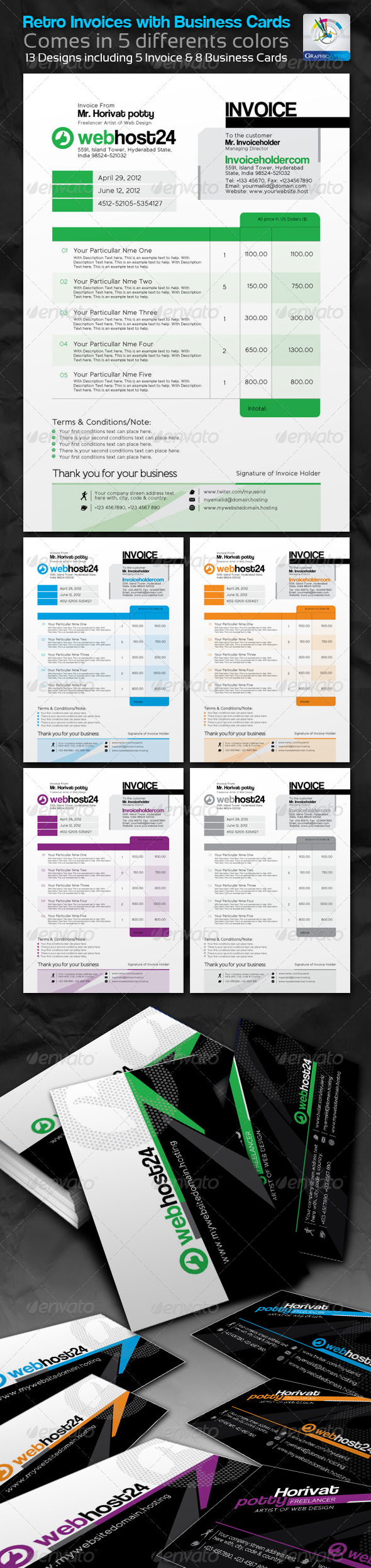 Retro Invoices with Business cards - Miscellaneous Print Templates