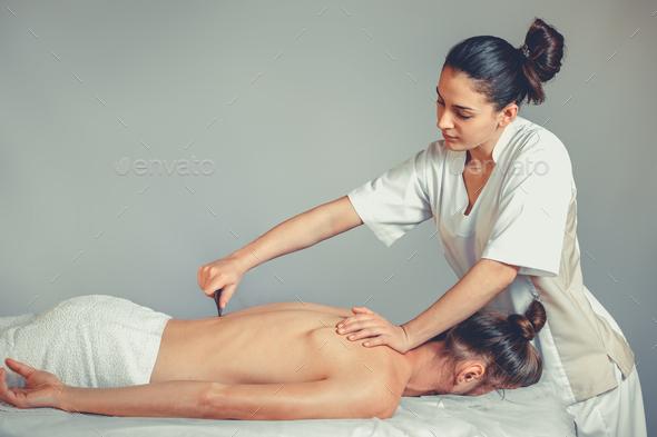 Massage gua, sha therapy - Stock Photo - Images