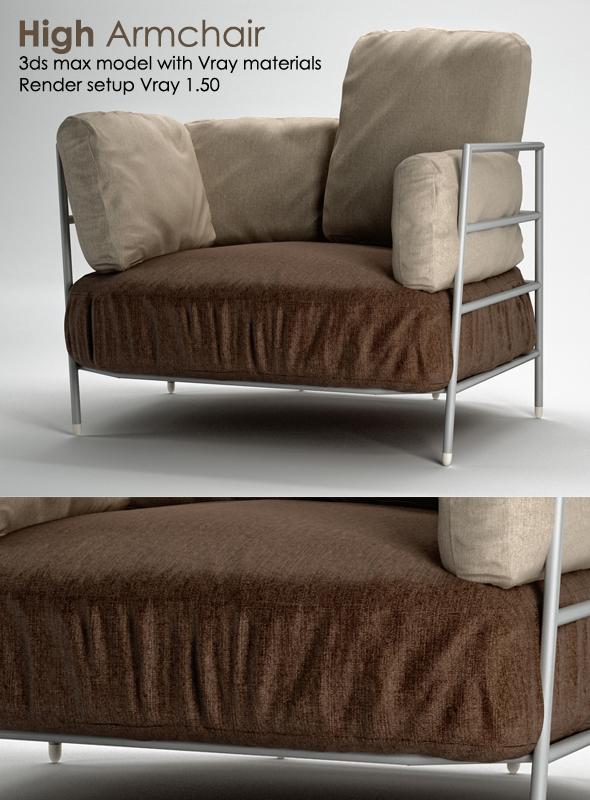 High Armchair - 3DOcean Item for Sale