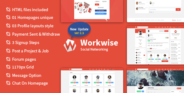 Workwise - The Freelancer And Social Networking HTML Template by Gambolthemes