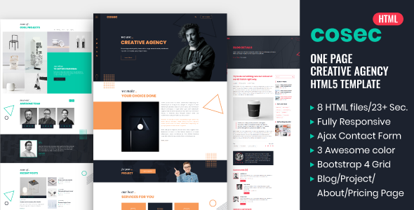 Cosec - One Page Creative Agency HTML Template by weexen