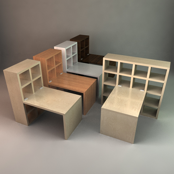 Superieur Stylish Desk With Bookcase   3DOcean Item For Sale