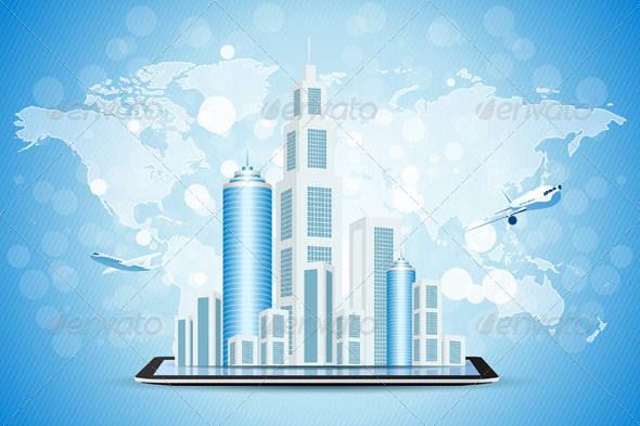 Blue Background with Business City on Tablet Compu - Backgrounds Decorative