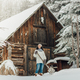 Woman shoveling snow in winter - PhotoDune Item for Sale