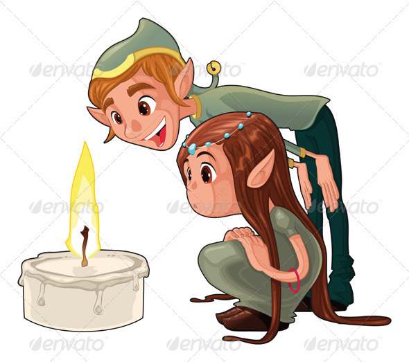 Young elfs with a candle.  - Characters Vectors