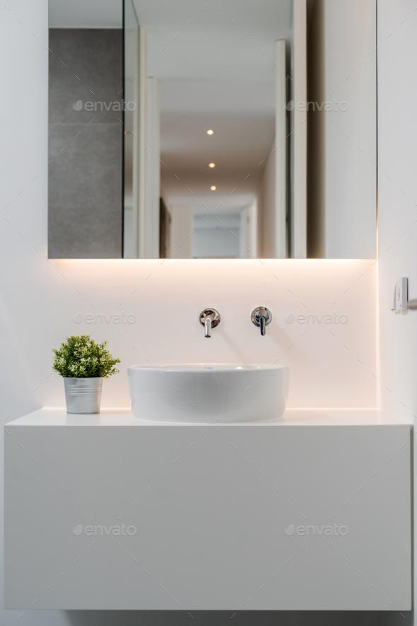 Bathroom inside modern villa house - Stock Photo - Images